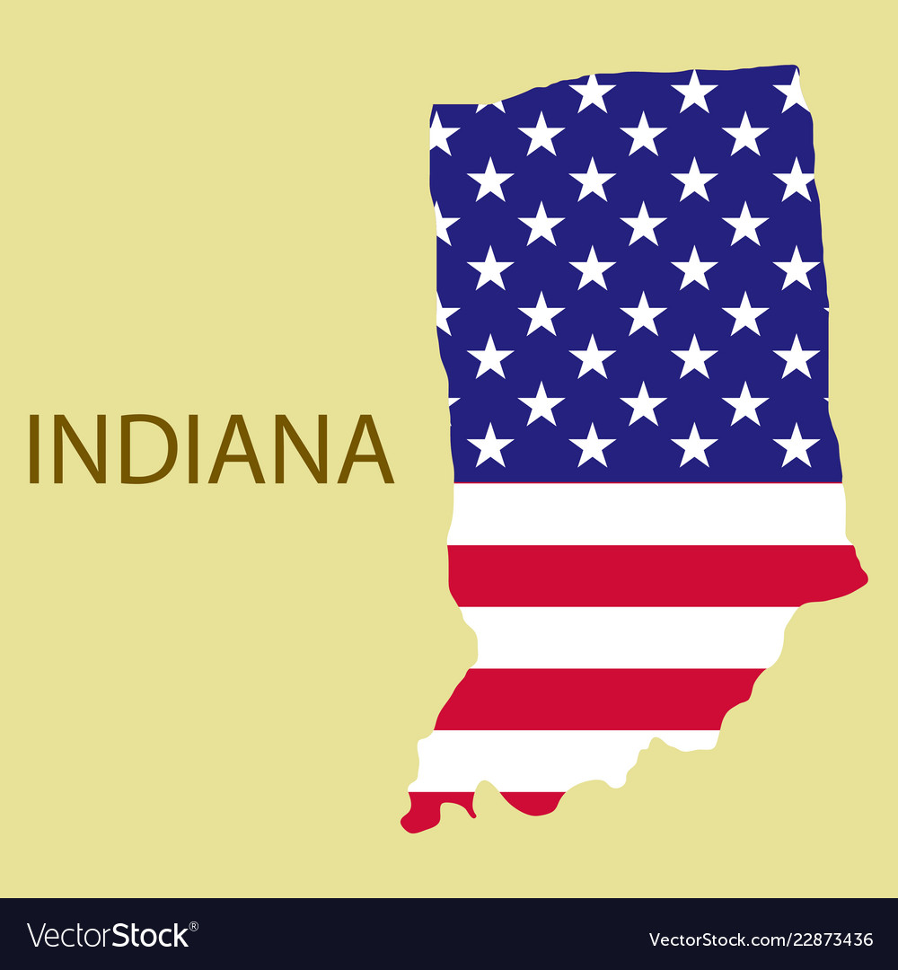Print State With Image Vector Flag America Indiana Map Of On