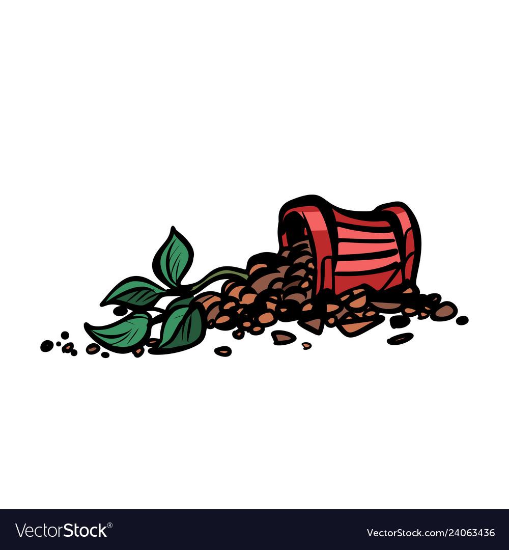 Indoor plant in a pot is broken