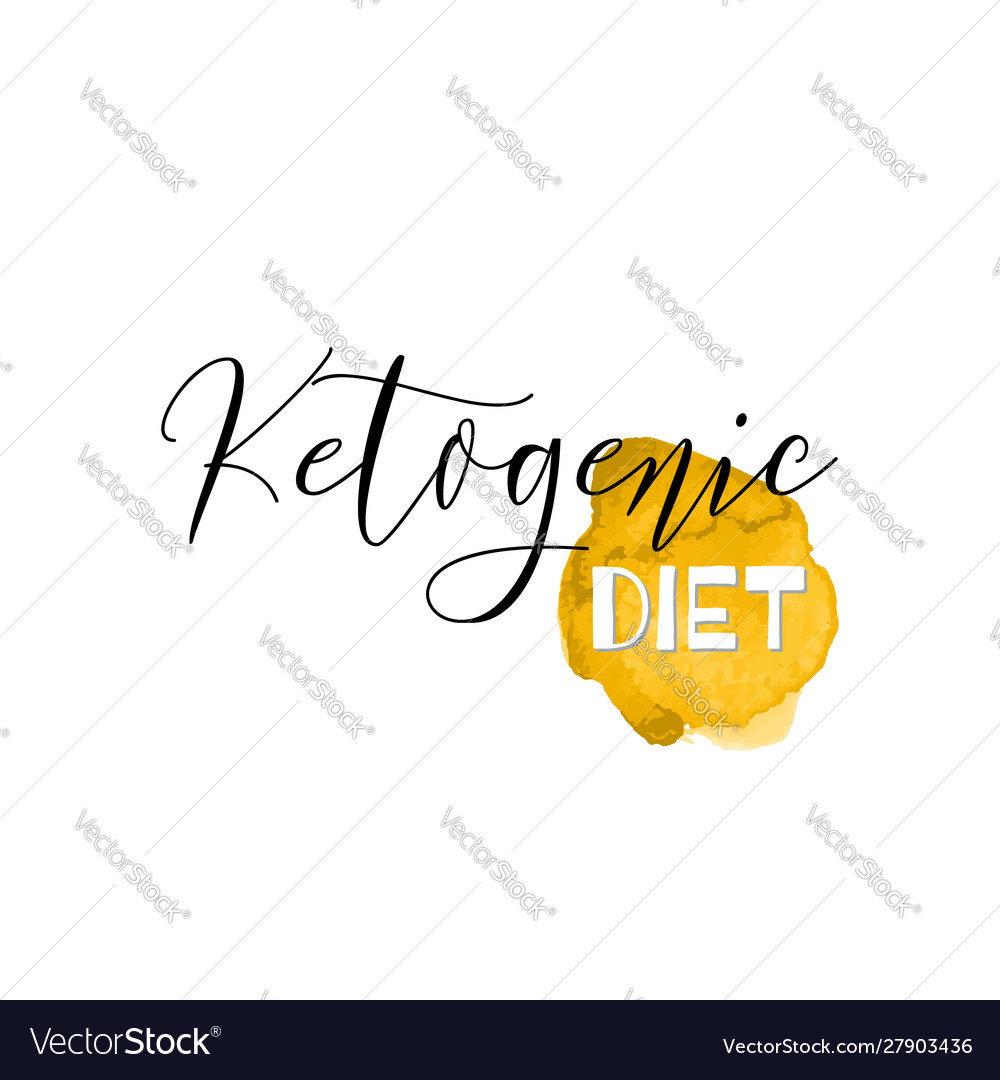 Ketogenic diet lettering on hand paint yellow