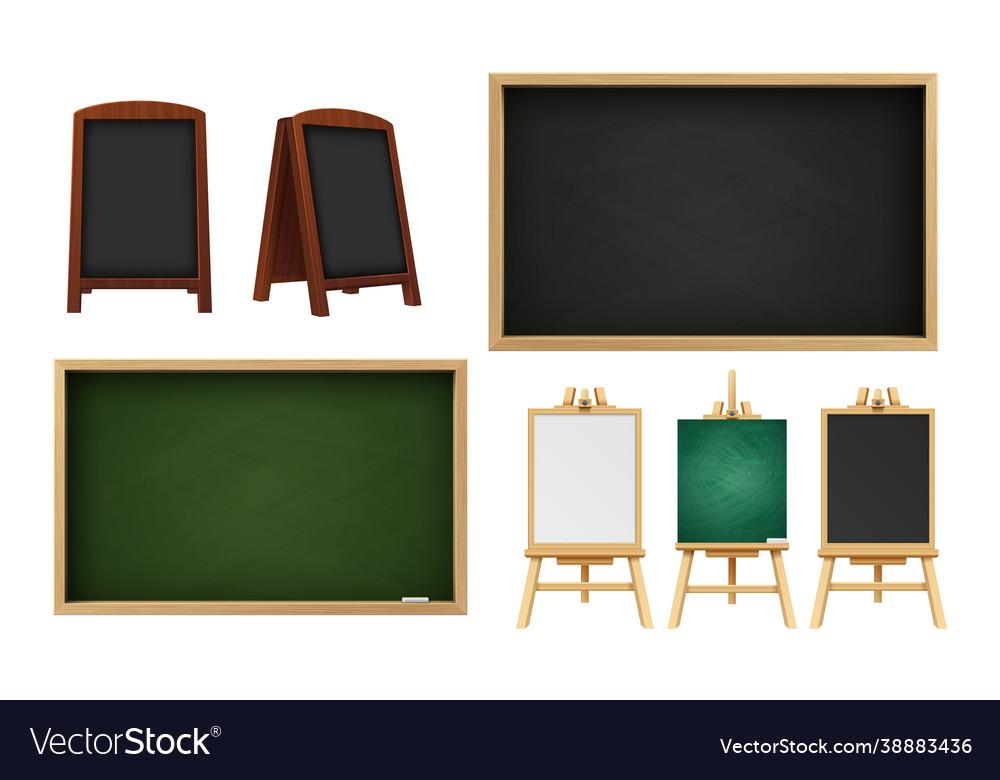 Realistic school chalkboard outdoor restaurant