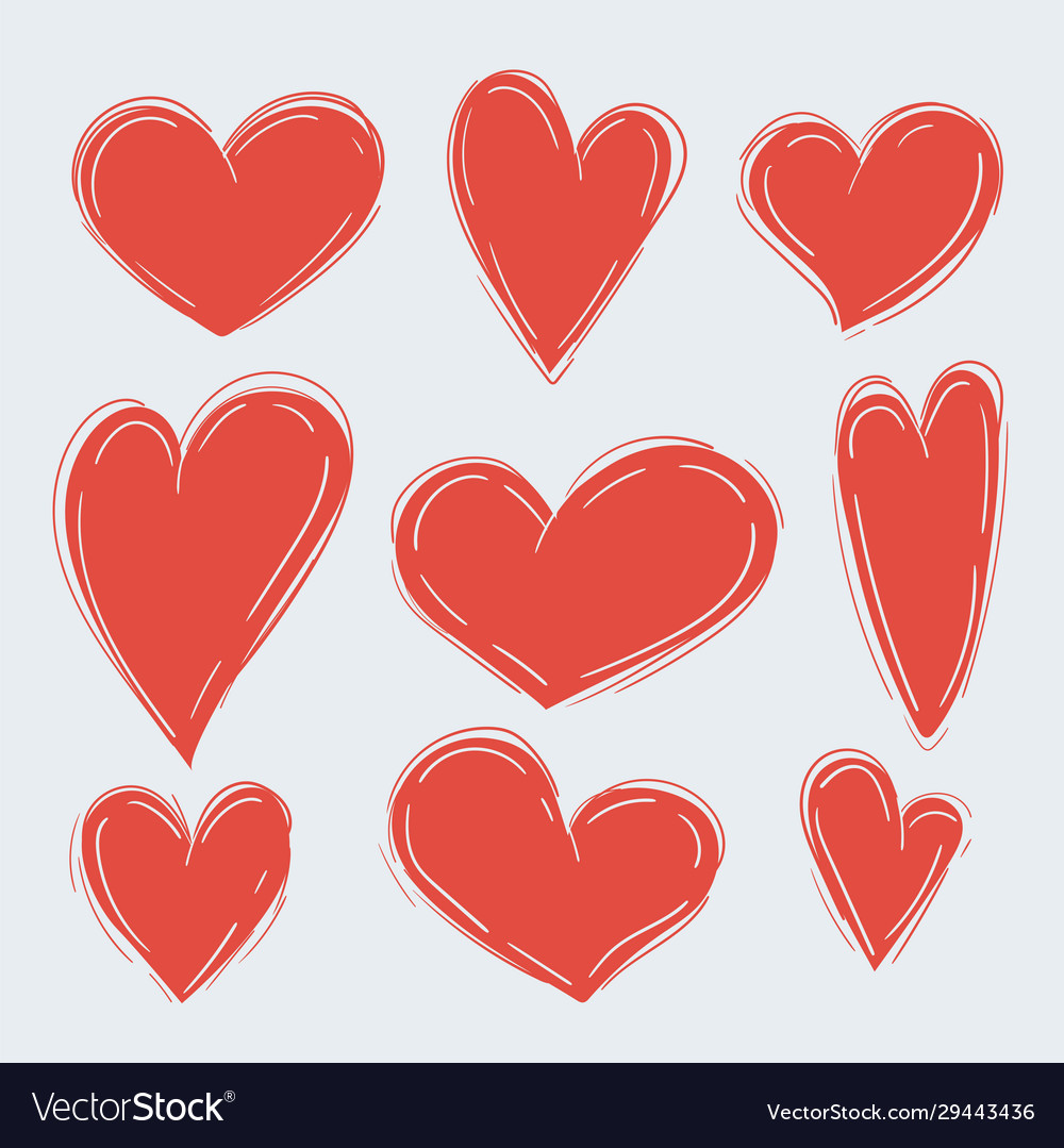 Set various simple red hearts on white
