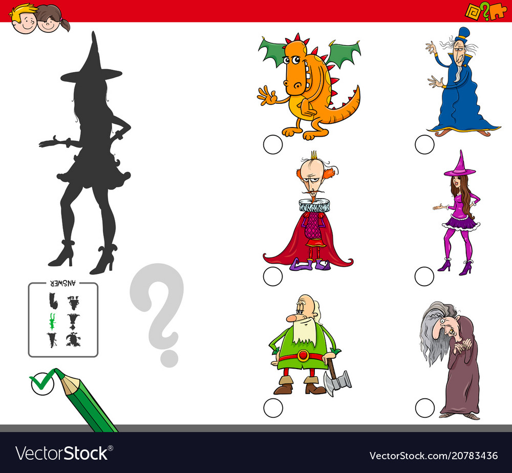 Shadows activity game with fairy tale characters vector image
