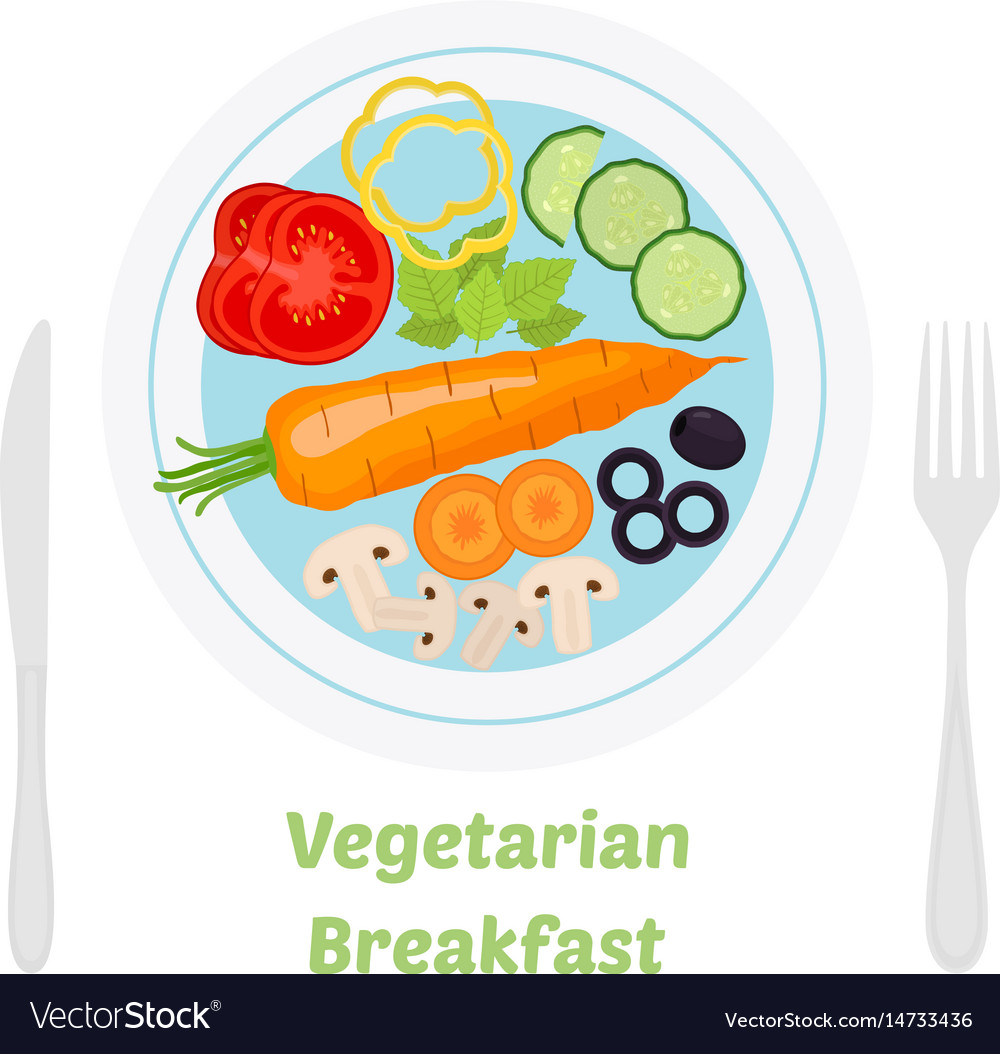 Vegetarian breakfast ingredients in flat style