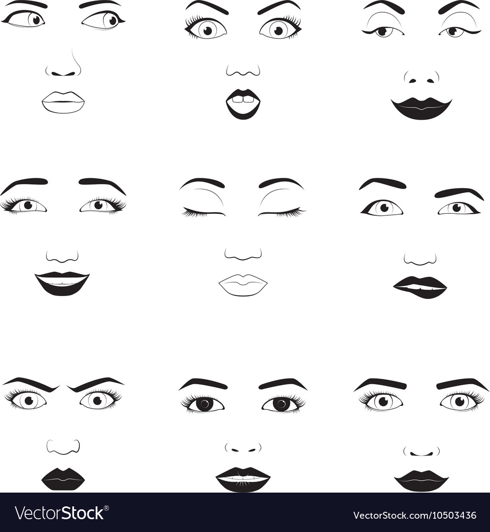 Woman emotions face icons