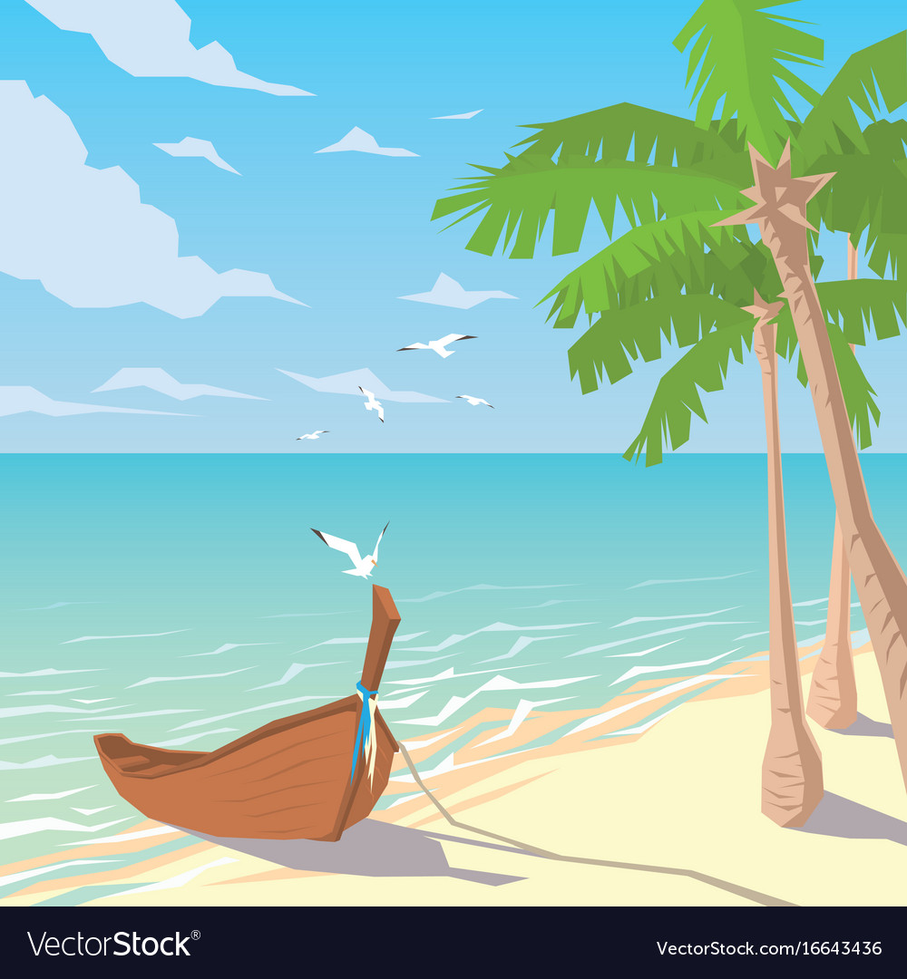 Wooden boat on sandy beach with palms
