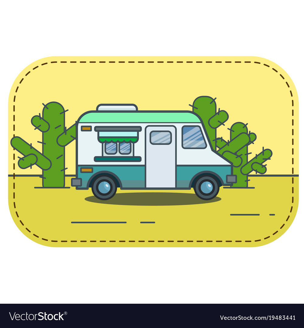 Cute Retro Food Truck In Desert Vector Image