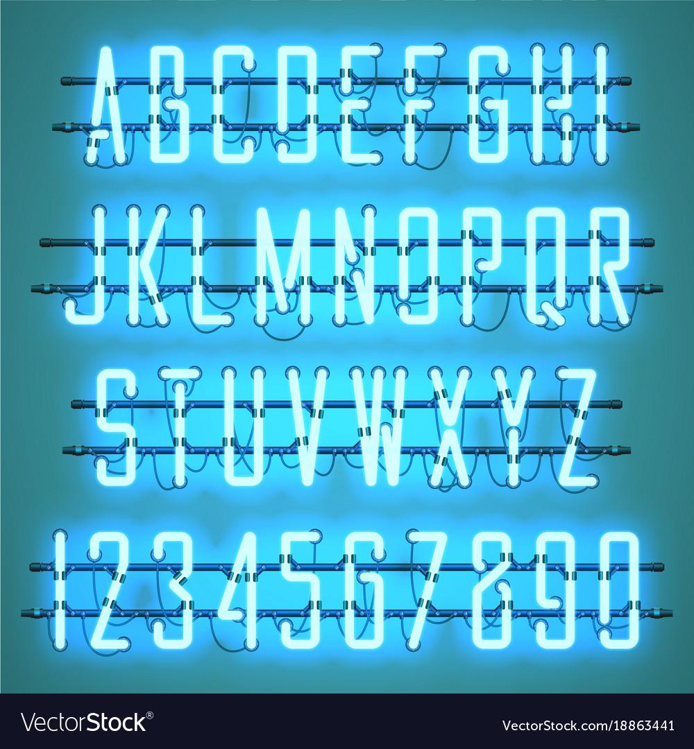 Glowing blue neon casual script font