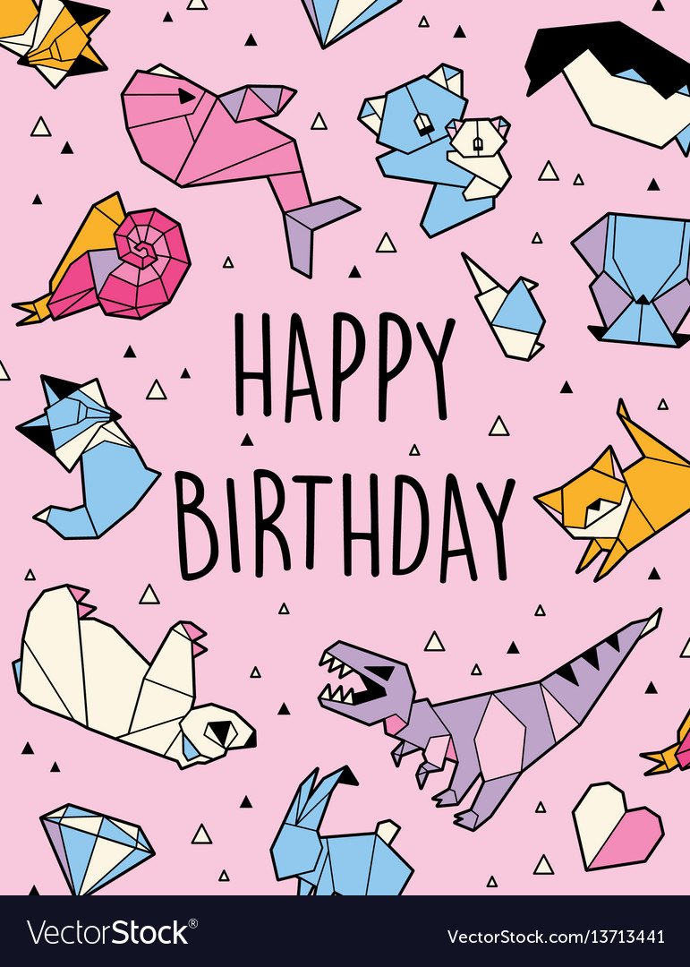 Happy Birthday Origami Card Royalty Free Vector Image