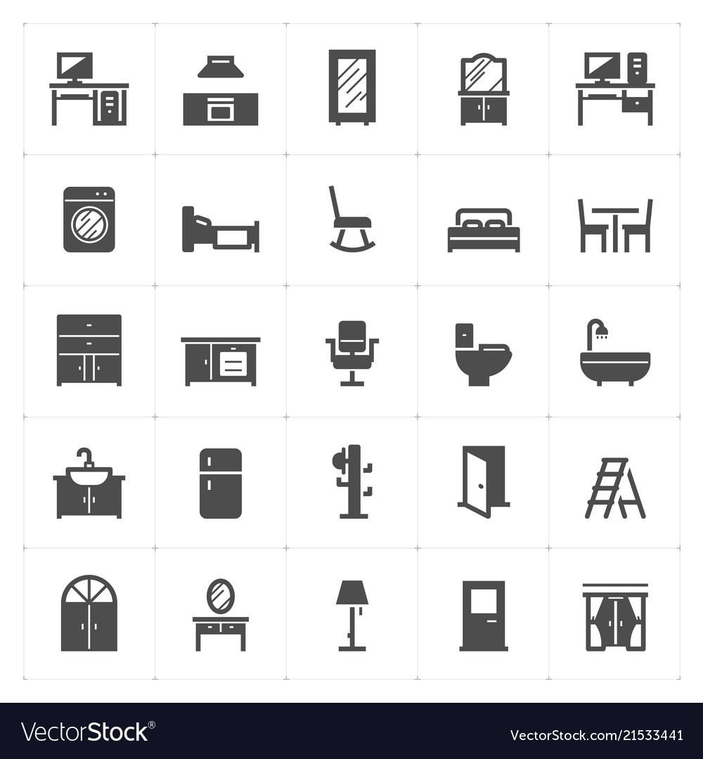 Icon set - furniture filled icon style