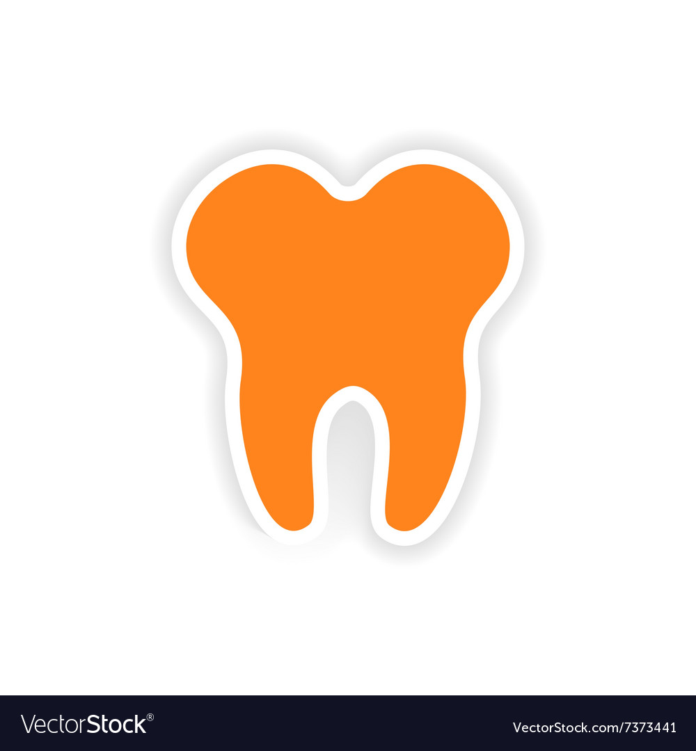 Icon sticker realistic design on paper tooth