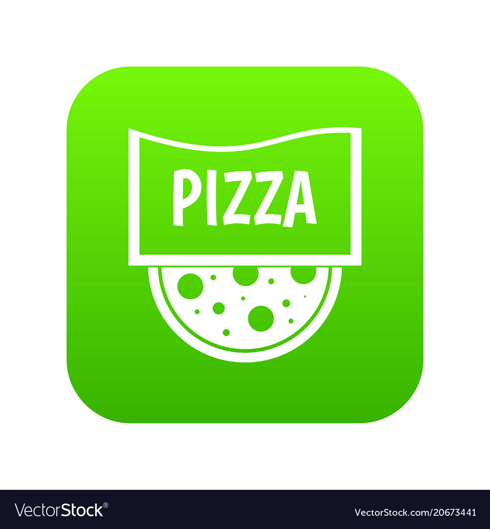 Pizza badge or signboard icon digital green