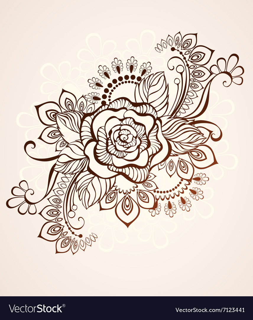 Rose Painted With Henna Royalty Free Vector Image