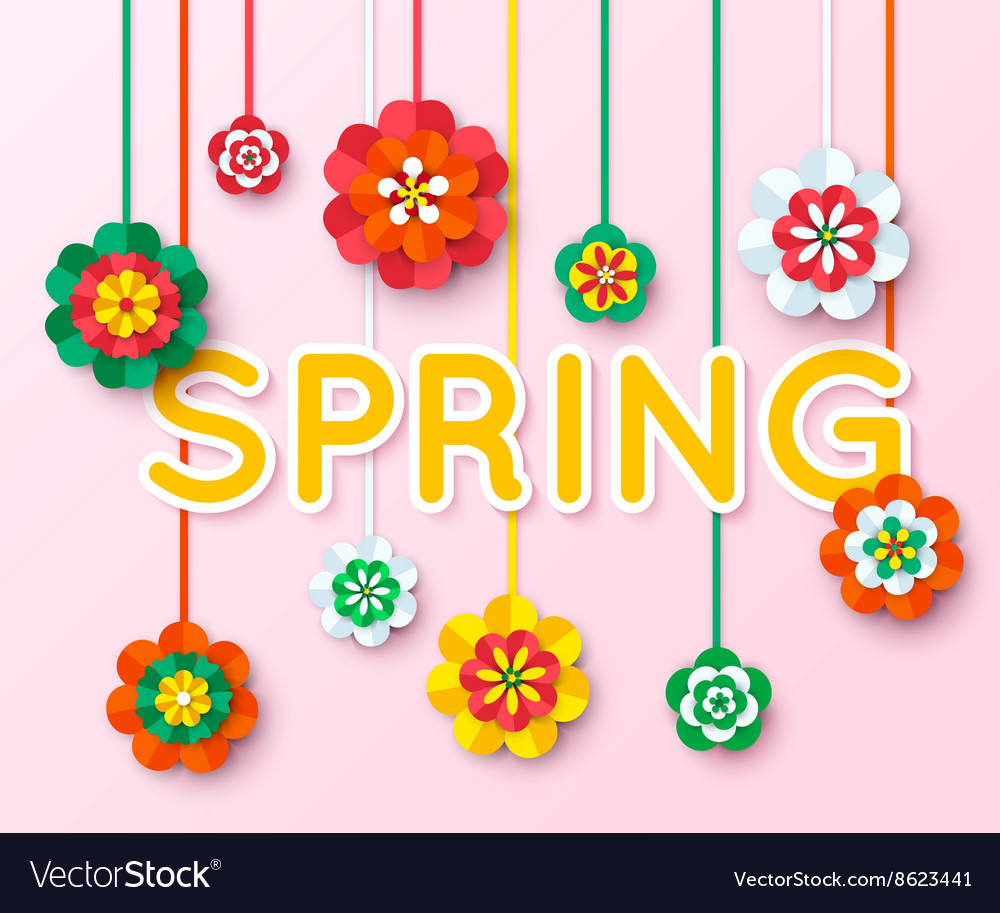 Spring Background with multicolored cutout paper vector image