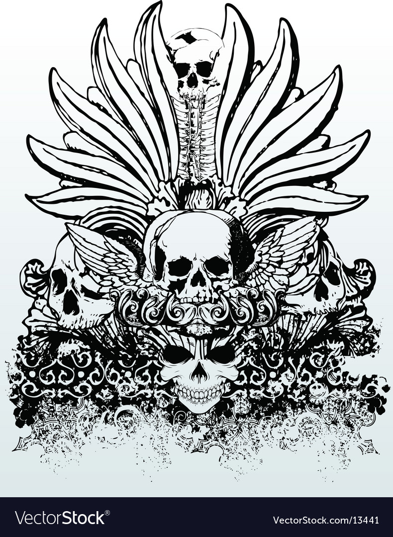 Tribal skull grunge illustration