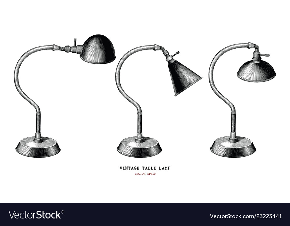 Vintage table lamp collection hand draw vintage