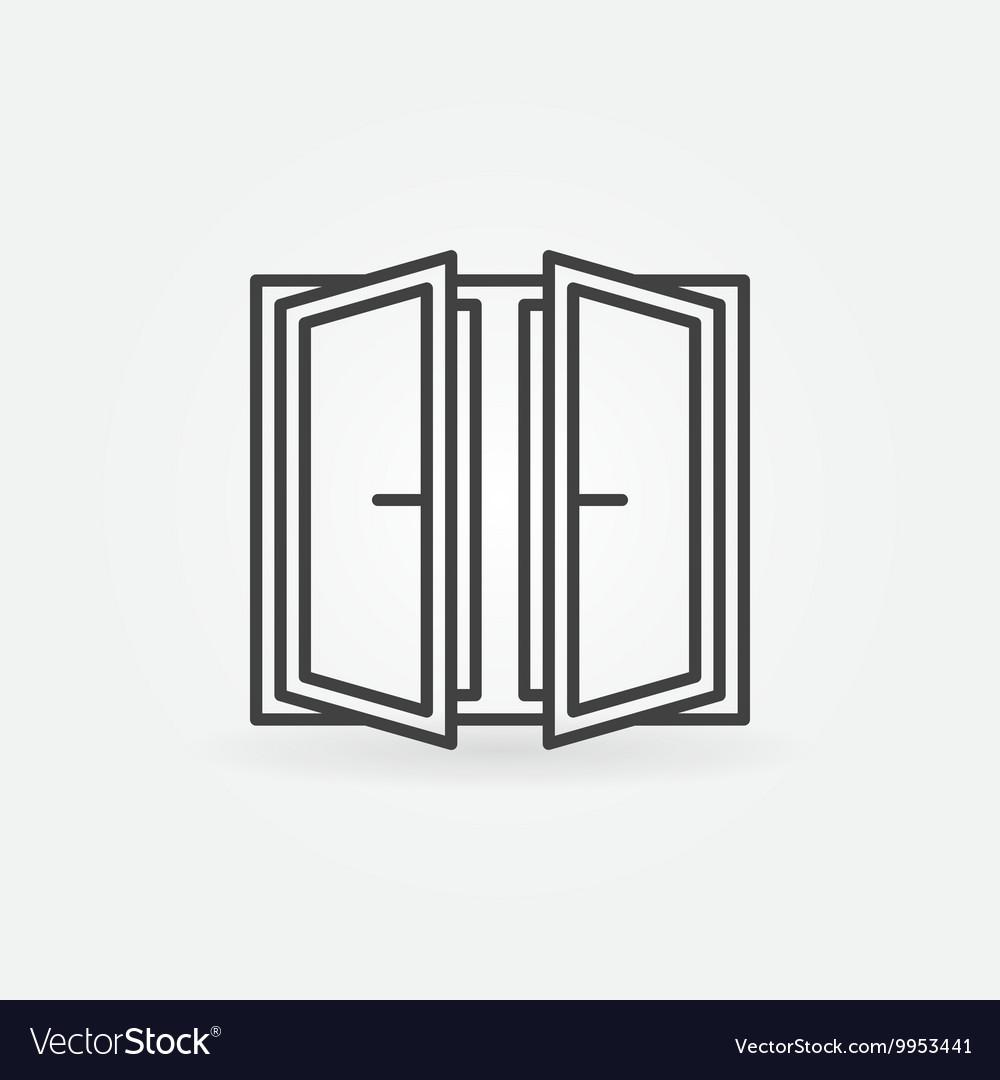 Wide open window icon vector image