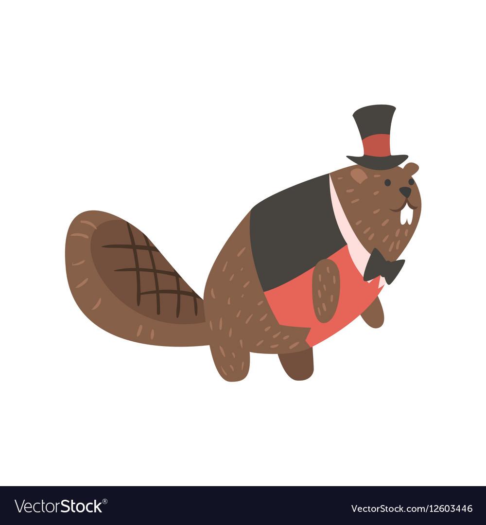 Beaver Dressed As Gentleman Forest Animal Dressed vector image