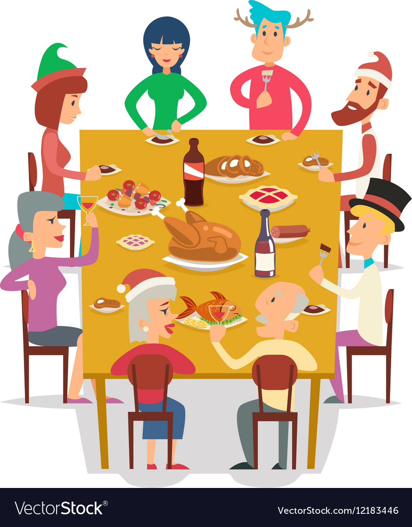 Christmas Group Friends Family Eat Meal Characters