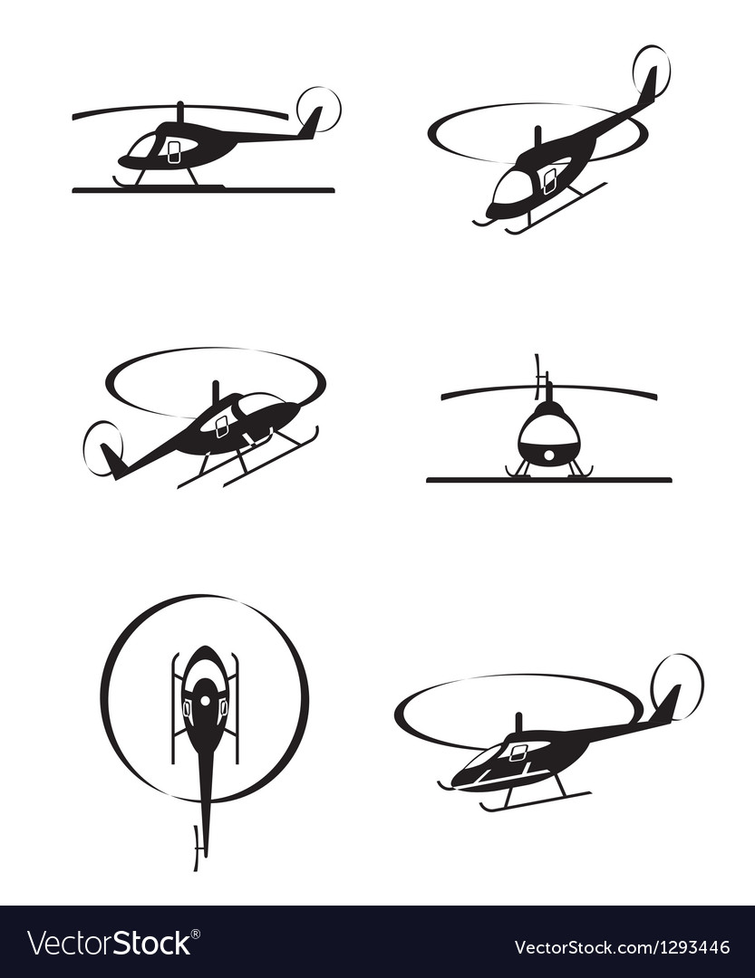 Civil helicopters in perspective vector image