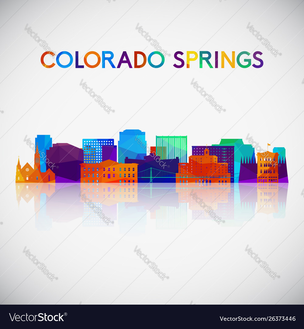 Colorado springs skyline silhouette in colorful