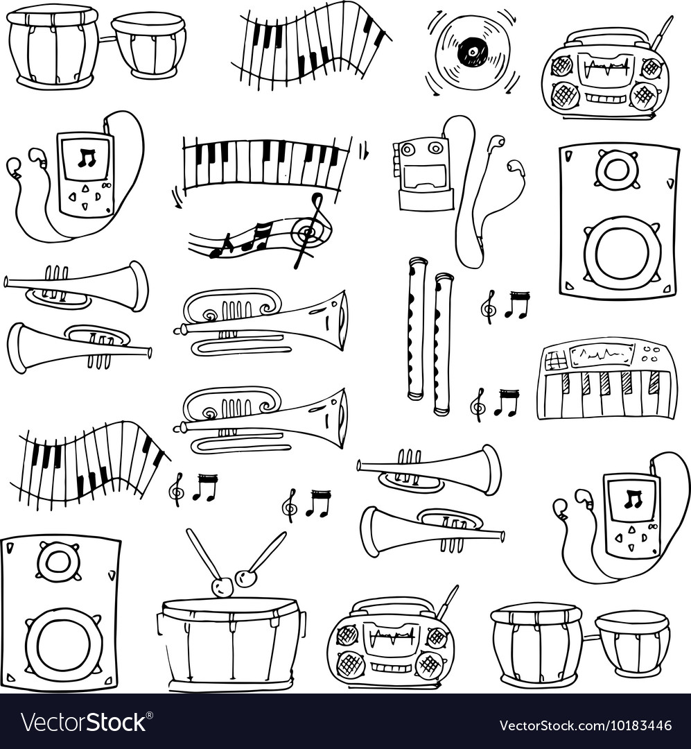Doodle of hand draw music tools vector image