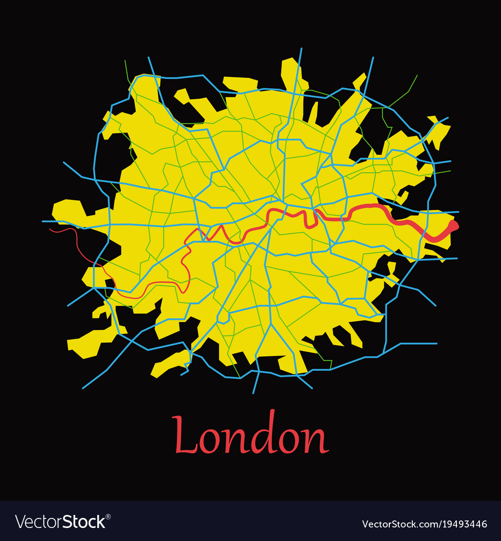 Flat color map of london united kingdom city plan