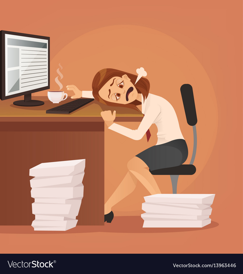 Hard work tired unhappy office worker woman