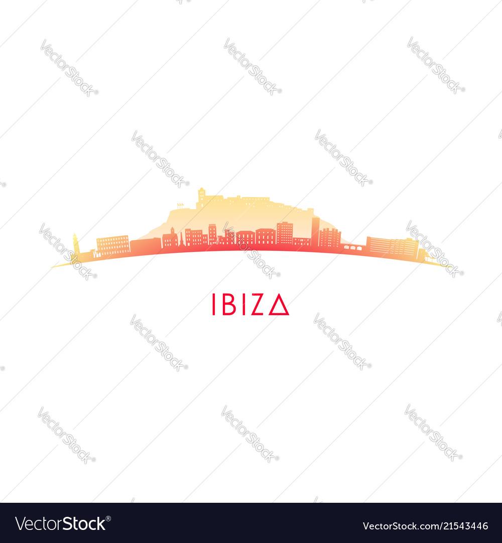 Ibiza skyline silhouette design colorful