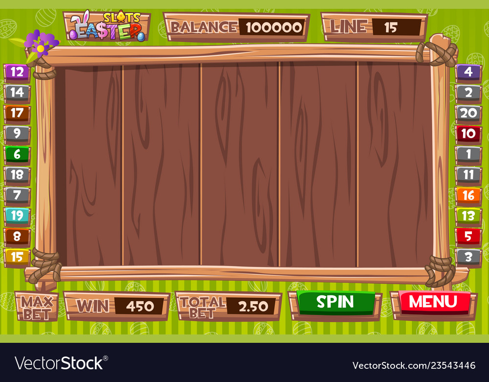 Interface slot machine in wooden style for
