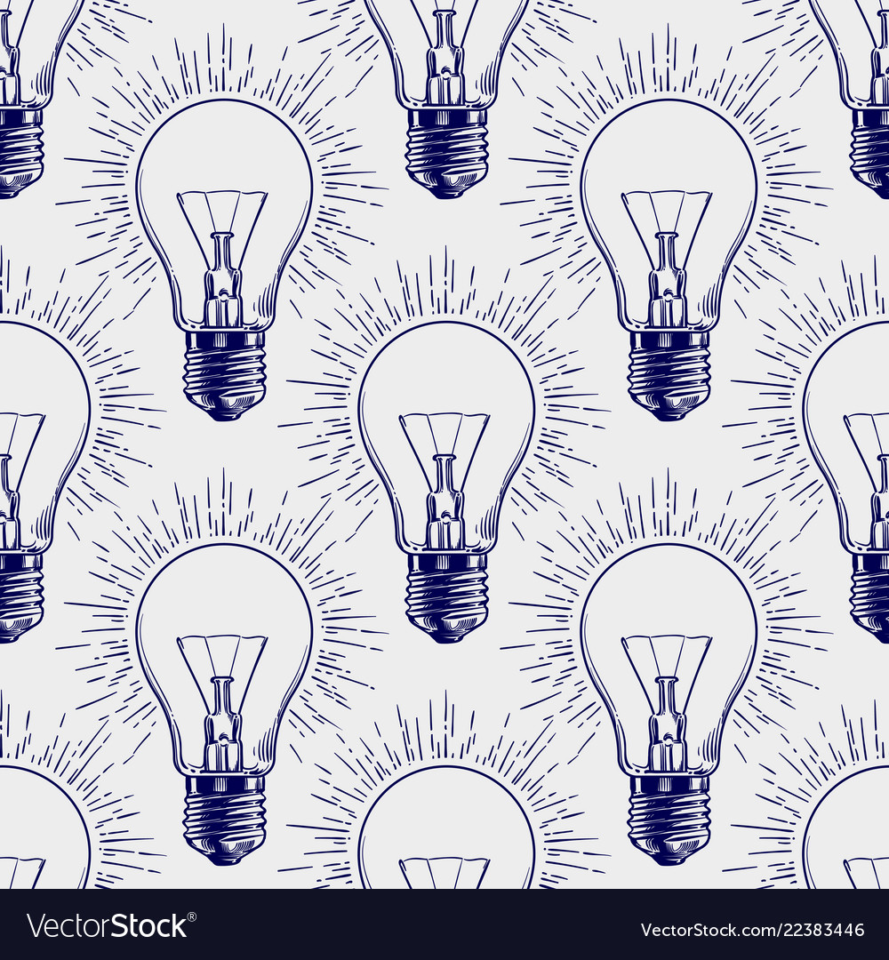 Lamp bulb sketch seamless pattern