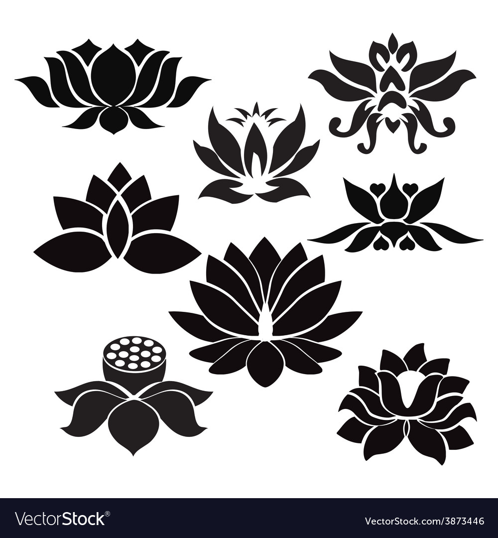 Lotus Pattern Flowers Silhouettes Royalty Free Vector Image