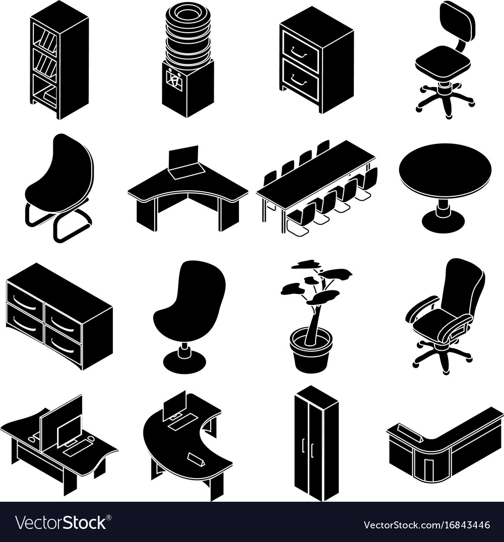 isometric office furniture vector collection66 vector