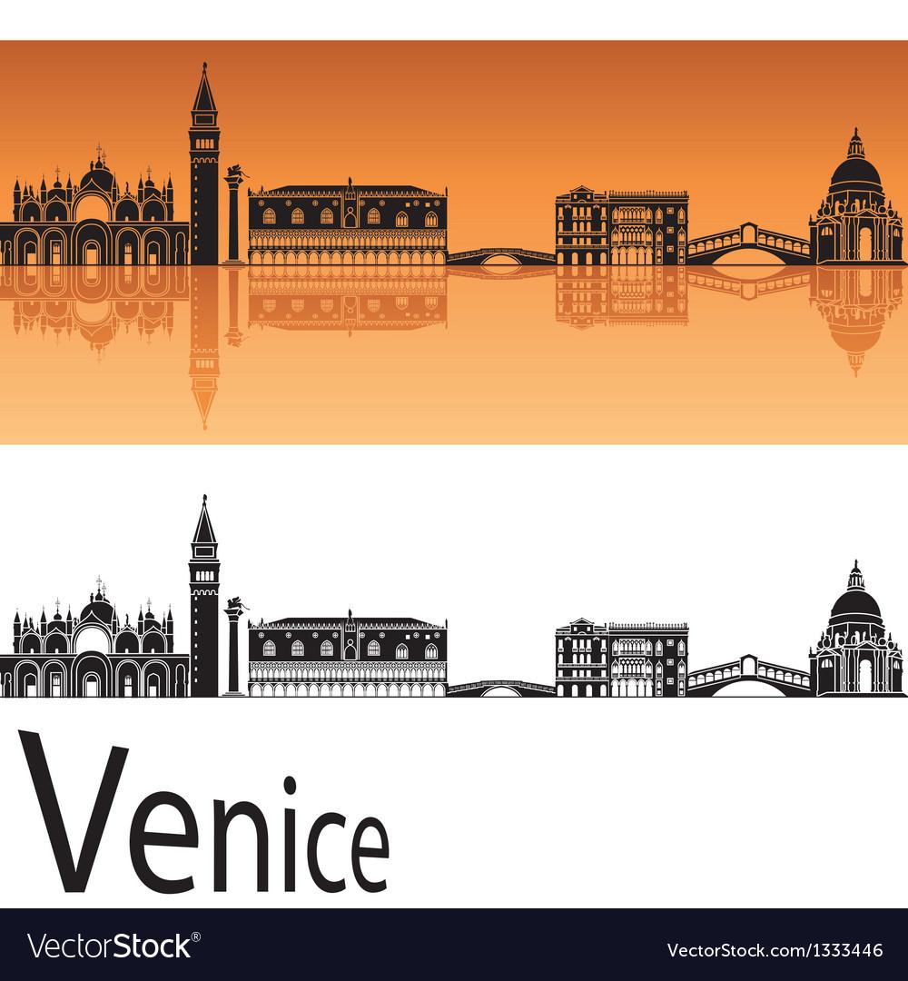 Venice skyline in orange background vector image