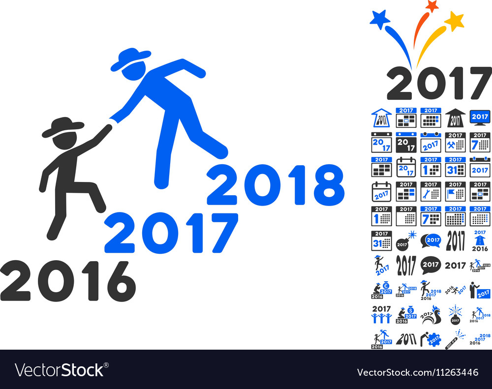 Years Guys Help Icon With 2017 Year Bonus Symbols vector image