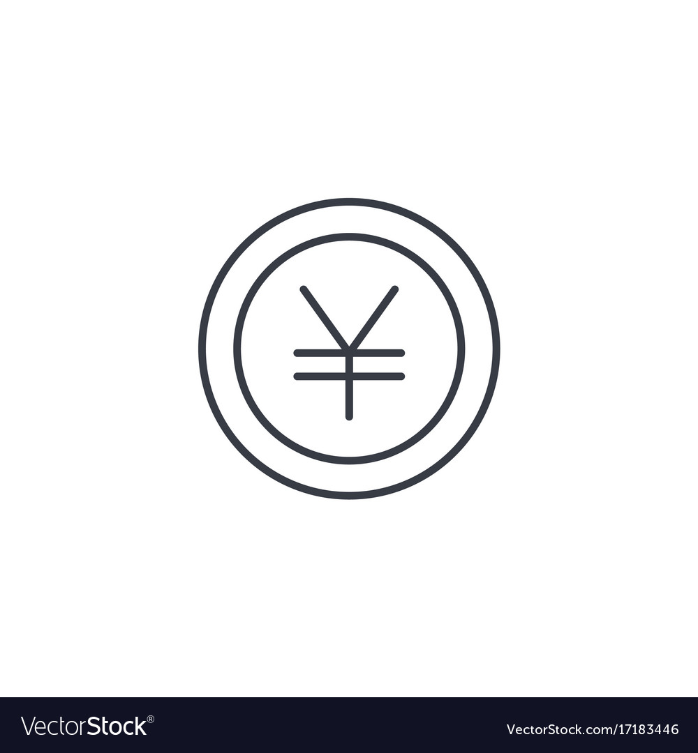 Yen coin money finance currency thin line icon