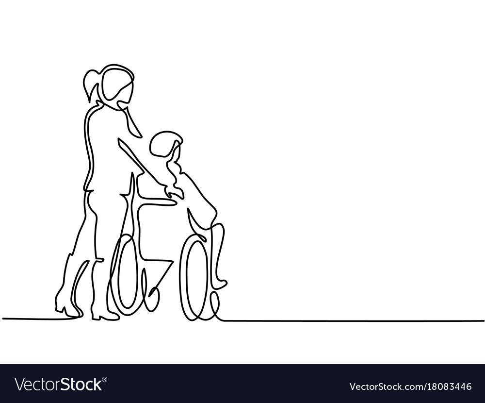 Young woman push the old man on wheelchair