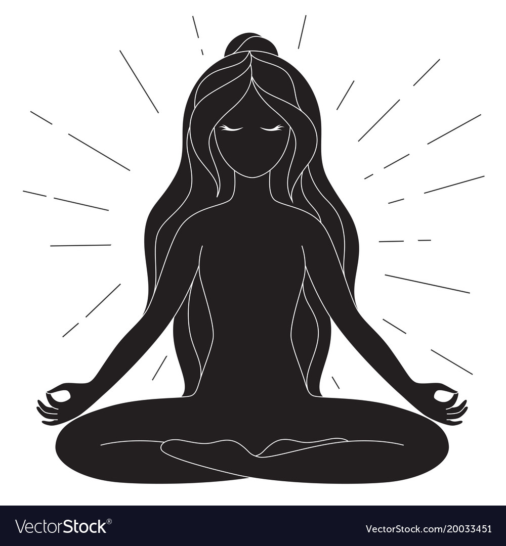 Black and white yoga poster with copy space