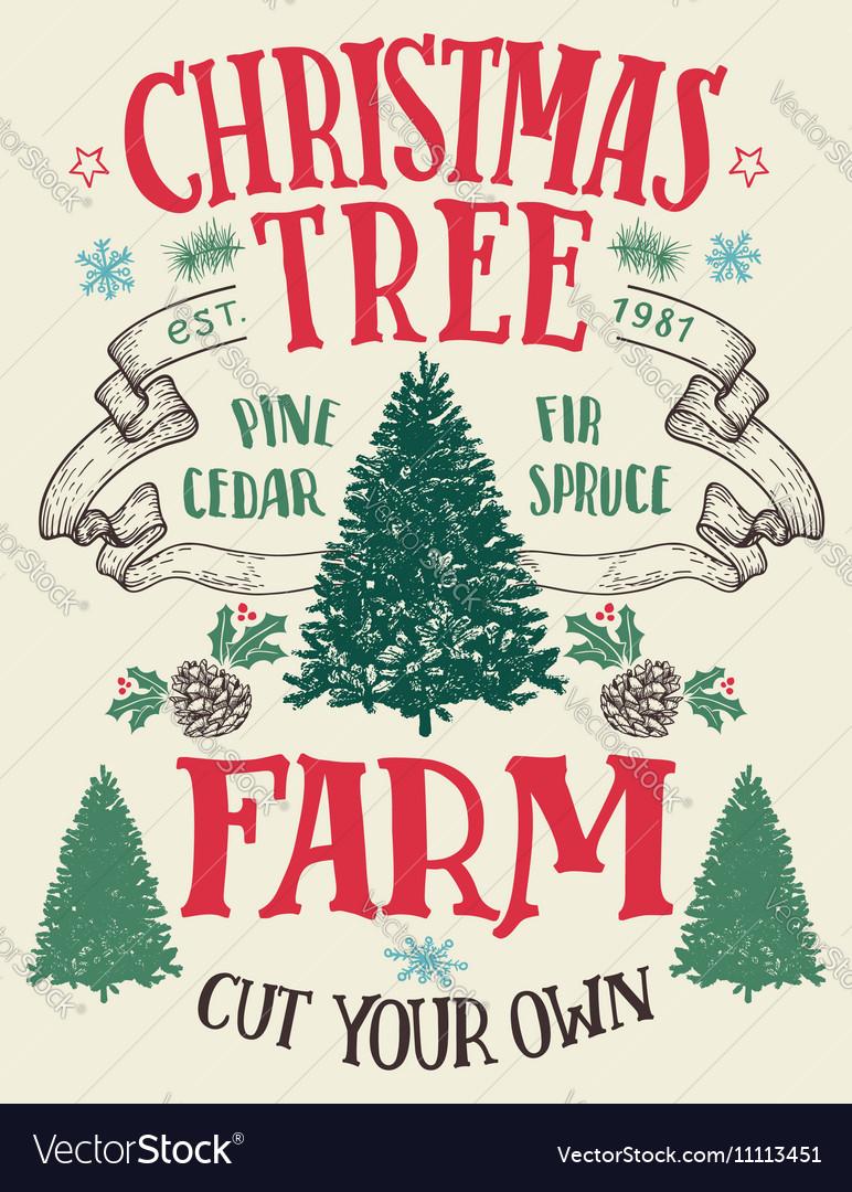 Christmas tree farm vintage sign