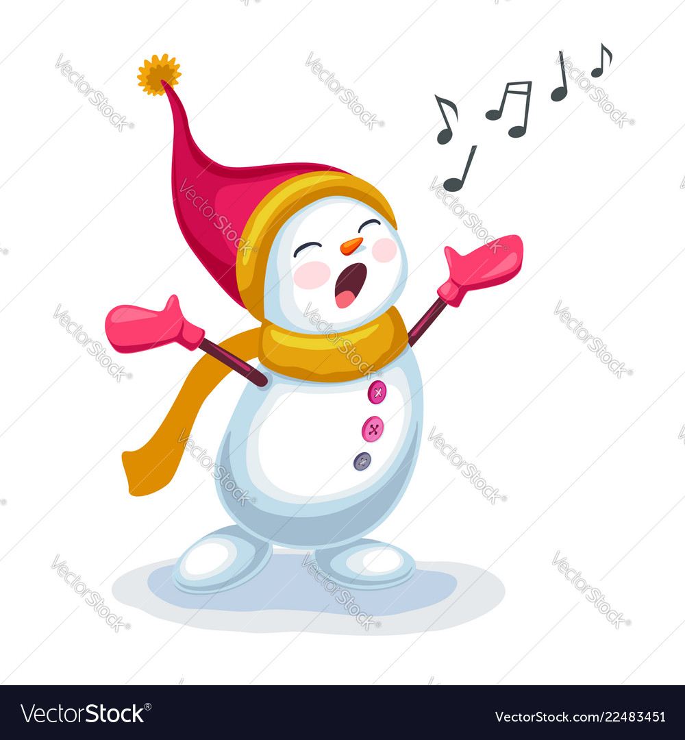 Cute snowman singing a song isolated on white