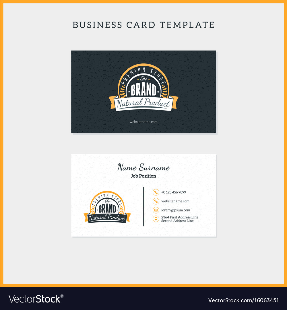 Double sided vintage business card template with vector image colourmoves