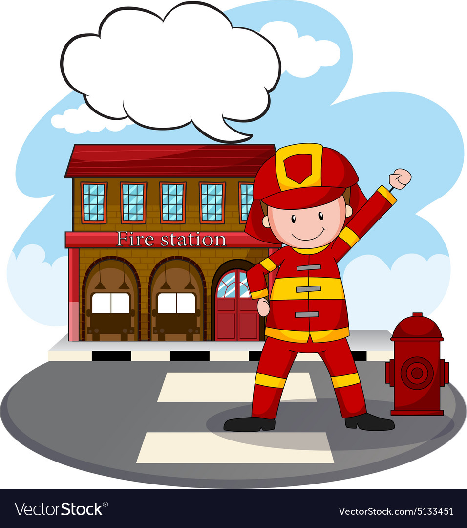 Fire station vector image