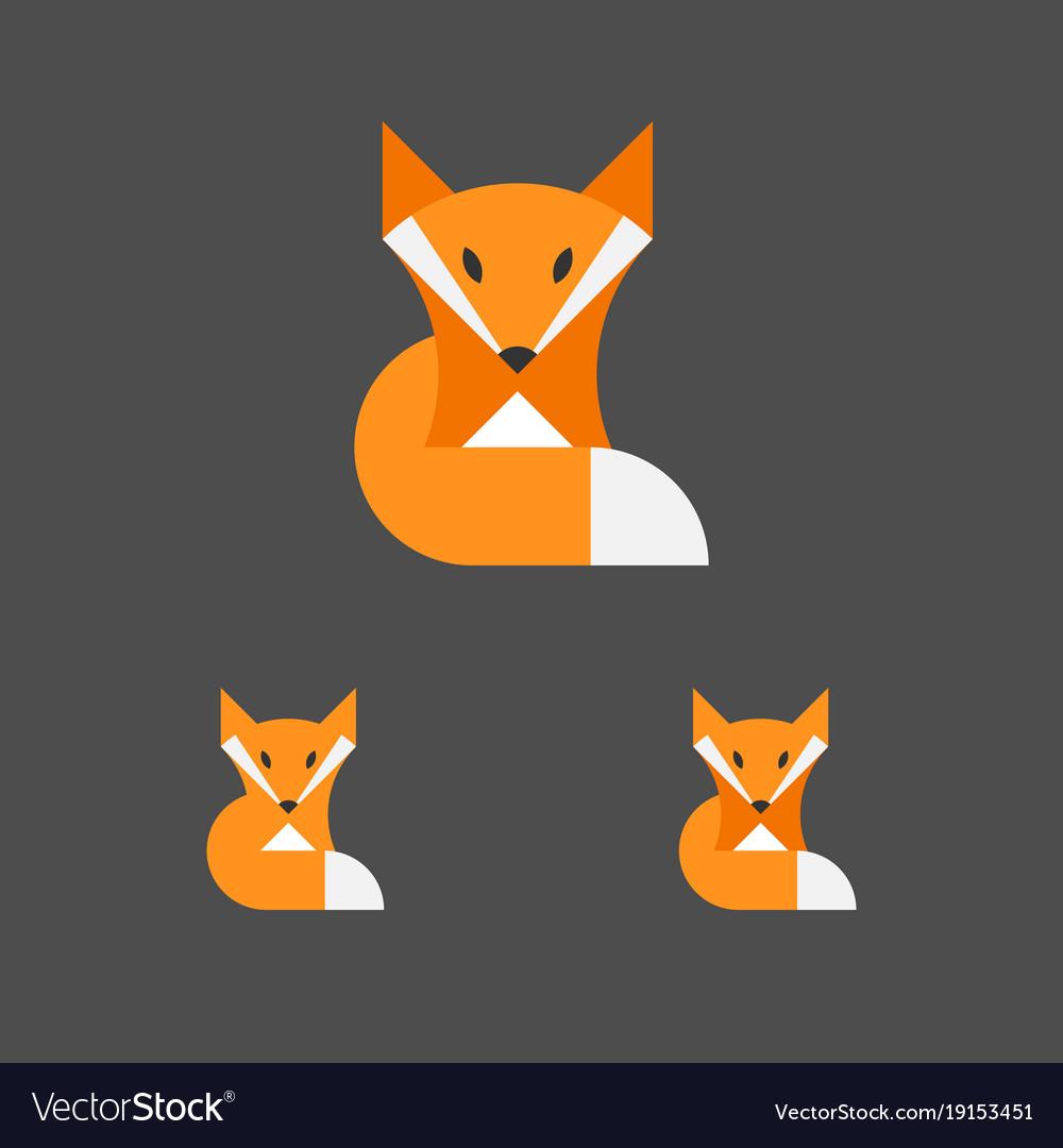 Fox logo template logotype set animal emblem vector image