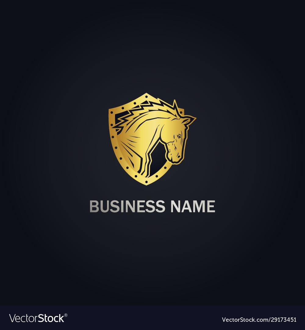 Horse Head Shield Gold Logo Royalty Free Vector Image