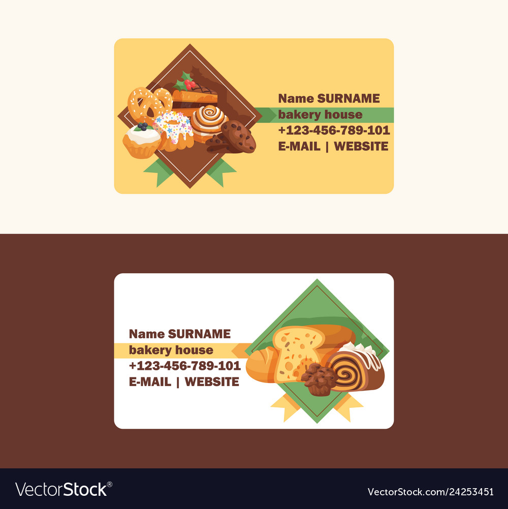 Pastry business card baked cake cream