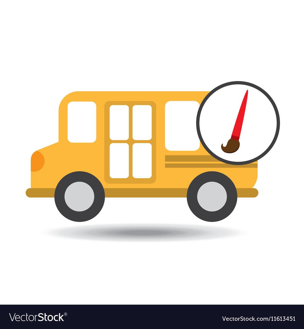 School Bus Icon Brush Paint Graphic