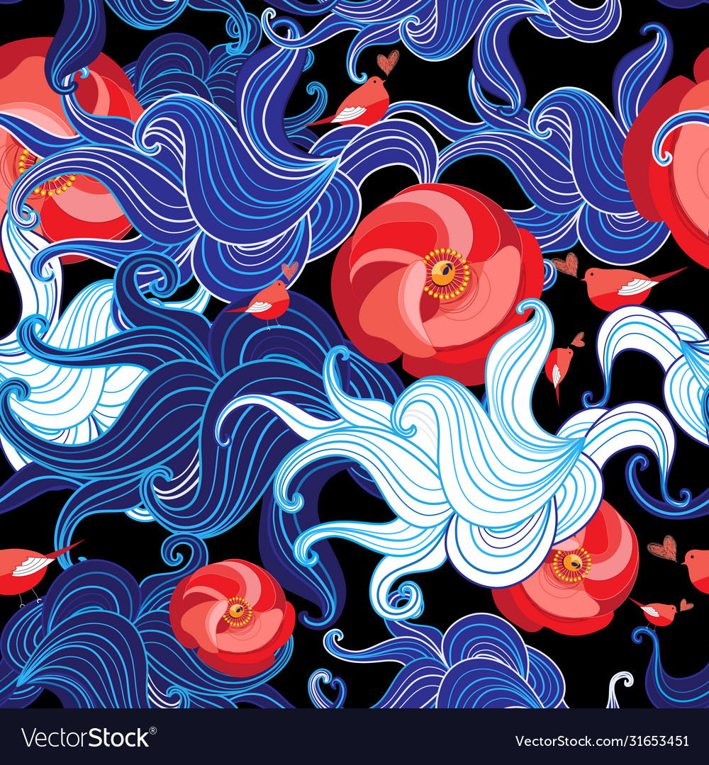 Seamless color floral pattern with birds