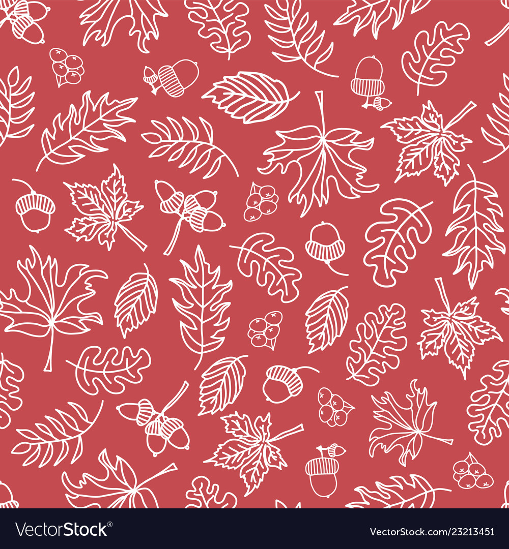 Seamless doodle leaves background red white
