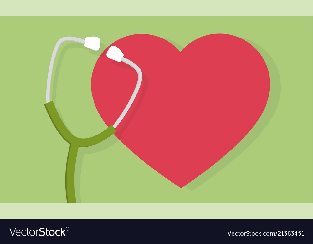 Stethoscope and heart icon or sign pulse care