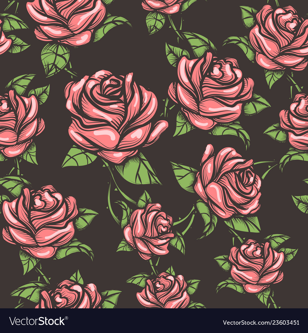 Vintage seamless rose pattern
