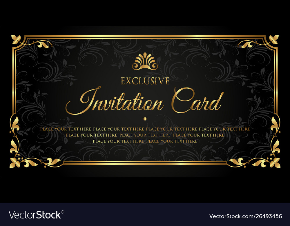 Black And Gold Exclusive Invitation Card Design